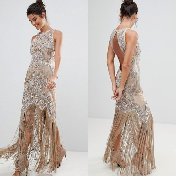 fb069a8c ASOS Dresses & Skirts - A STAR IS BORN Fringed Beaded Gatsby Flapper Gown